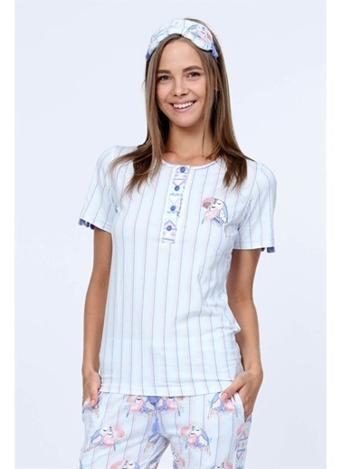 Obje Papağan Desenli Patlı Pijama Takımı Pembe